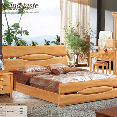 Wuhu Tongling solid wood bed Thailand import double bed 1.5 meters 1.8 meters simple Chinese bed bedroom solid wood bed