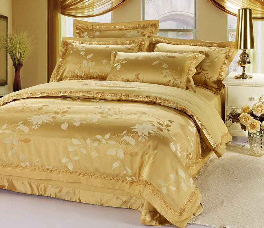 Can Lake four sets of cotton satin jacquard bedding Tencel fabric