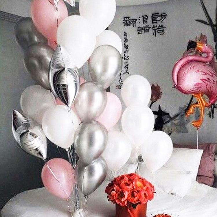 火烈鳥葉子拉花情人節氣球束火烈鳥氣球珠光乳膠氣球生日求婚結婚布置裝扮用品