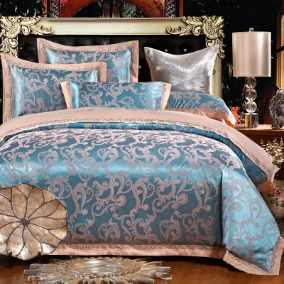 Mo is 2017 new cotton and silk textile Keats European Pure Cotton Satin Jacquard embroidered quilt four sets