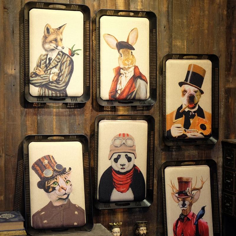 a鐵藝托盤造型邊框單個價格50*34美式鄉村復古動物頭像壁飾 托盤造型鹿頭紳士動物裝飾畫 掛畫