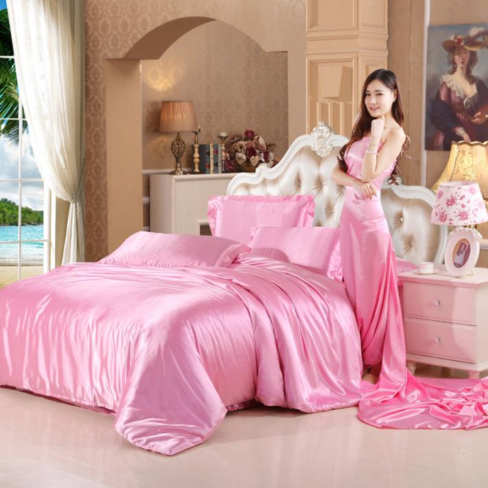 Tong Fang home textile silk like four pieces, bed sheets, quilt covers, pillowcases, 4 sets of double beds, four seasons comfortable, breathable