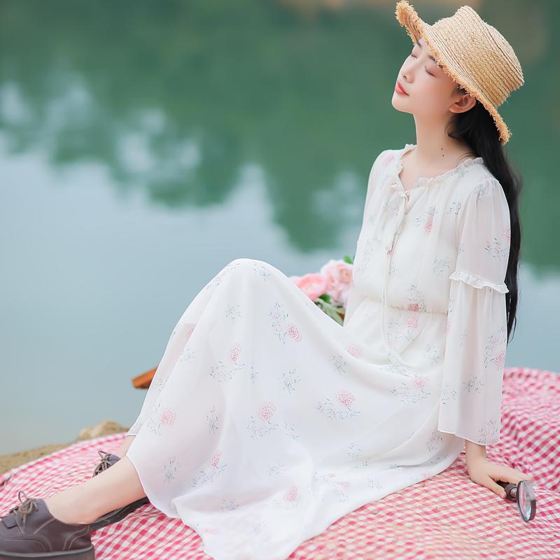 6206#不低于95档口现货【现货实拍】2019春法式少女印花连衣裙