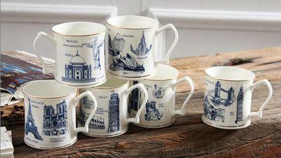 世界知名地标 环球经典建筑系列马克咖啡杯 唐山骨瓷 礼盒包装原单