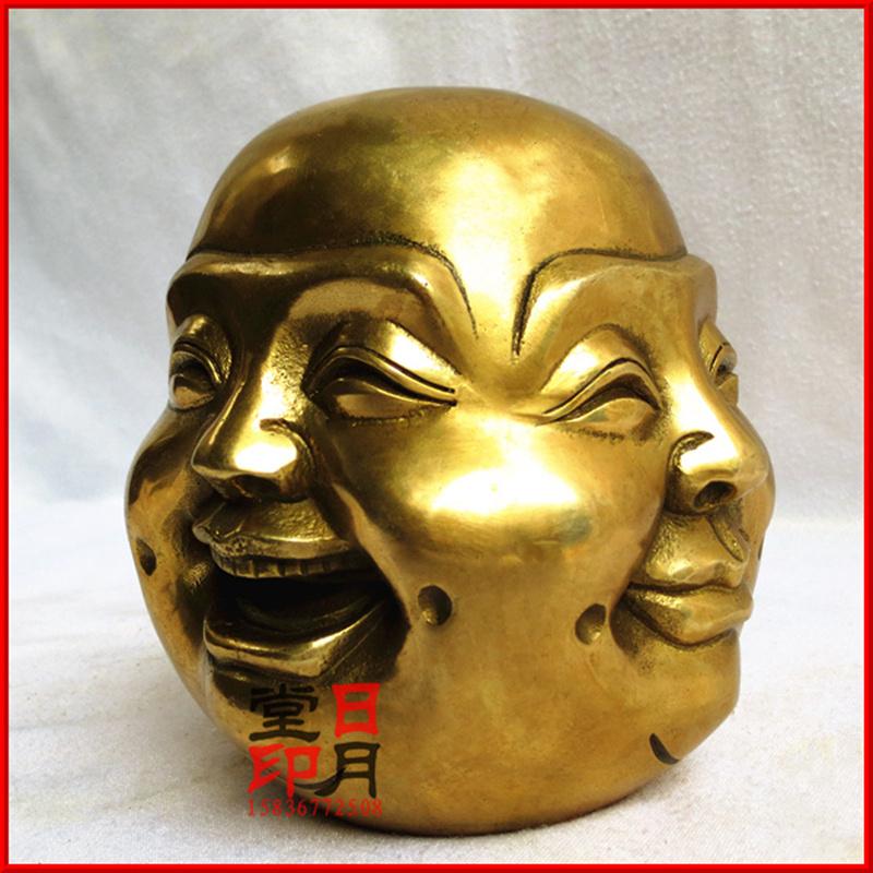 小號開光銅器喜怒哀樂銅四面佛銅佛首銅佛像頭風水工藝品家居飾品擺件
