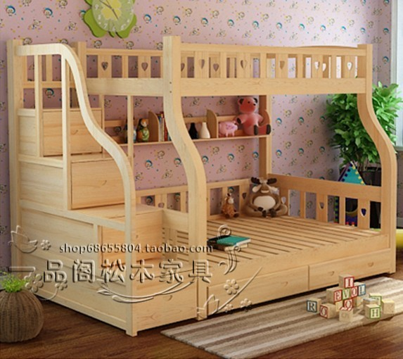 All wood furniture on children's bed height of pine wood color mother bed bunk bed bed double bed