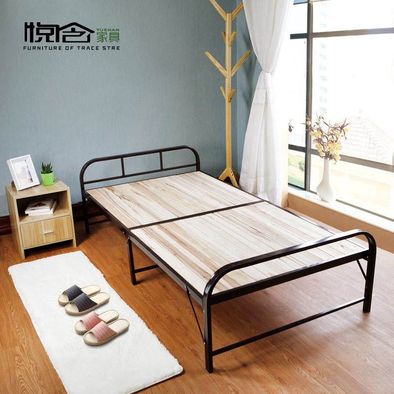 Foldable bed, single person strengthening simple bed, strengthening lunch bed, children nap bed, double solid wood household hidden bed