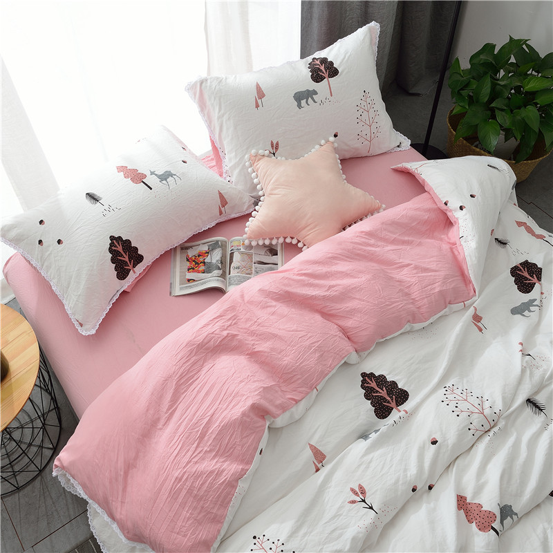 The autumn and winter of four sets of super soft Tencel thick cotton naked warm autumn winter bedding 1.8m bed