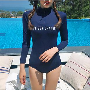 韩国学生度假浮潜水母衣防晒连体长袖泳衣女速干运动冲浪潜水服