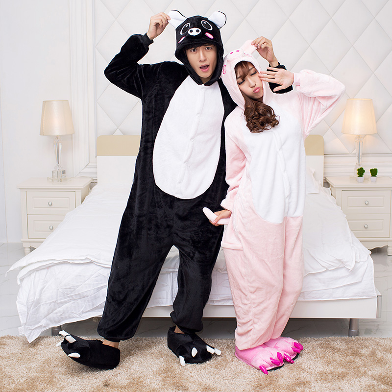 Black pig powder, pig pajamas, girls, boys, pajamas, flannel lovers, autumn and winter toilet plate with zipper