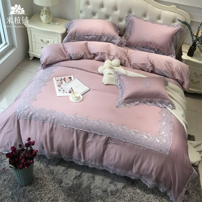 Genuine imported high-end Princess lace 80 solid double Tencel four piece bedding European naked