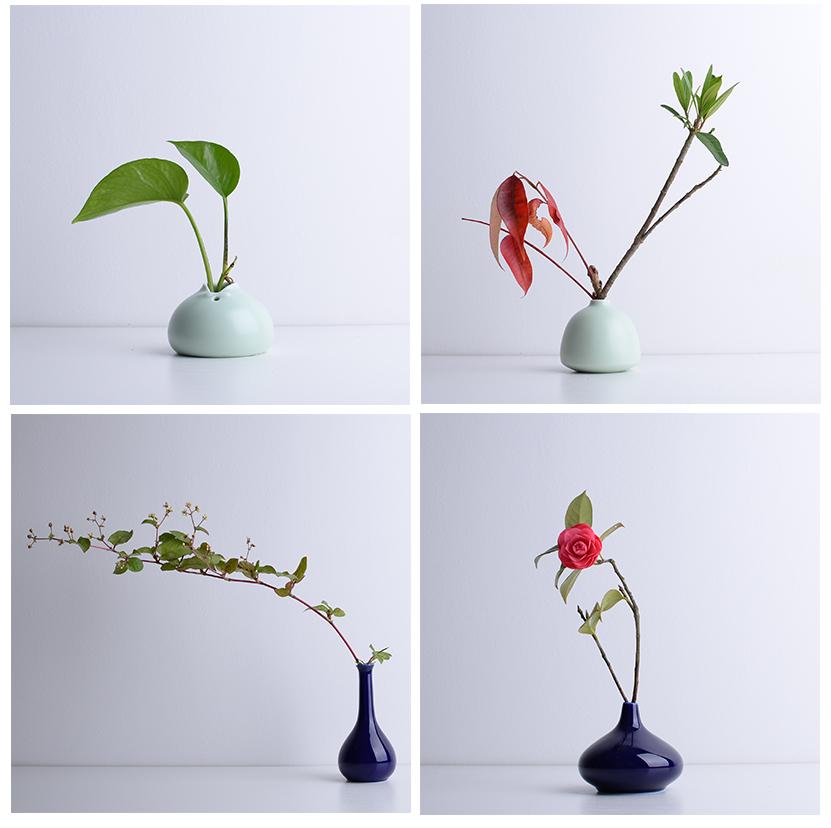 001-米藍創意陶瓷擺件臺面干花插花瓶日式花器小號瓷花瓶家居現代簡約花插