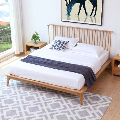 Simple solid wood beds, all solid wood double beds, white oak master bedroom, 1.8/1.5 meters bedroom furniture