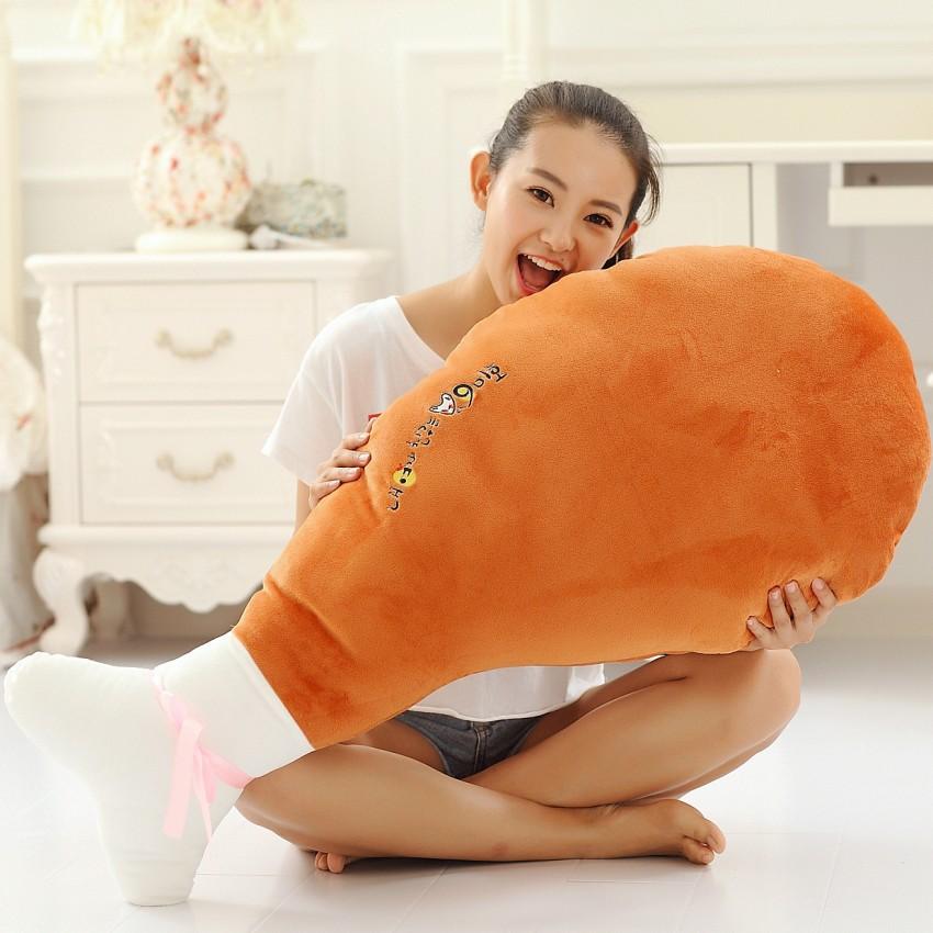如圖30厘米大雞腿毛絨玩具抱枕靠墊我的女友是九尾狐超大號創意雞腿生日禮物