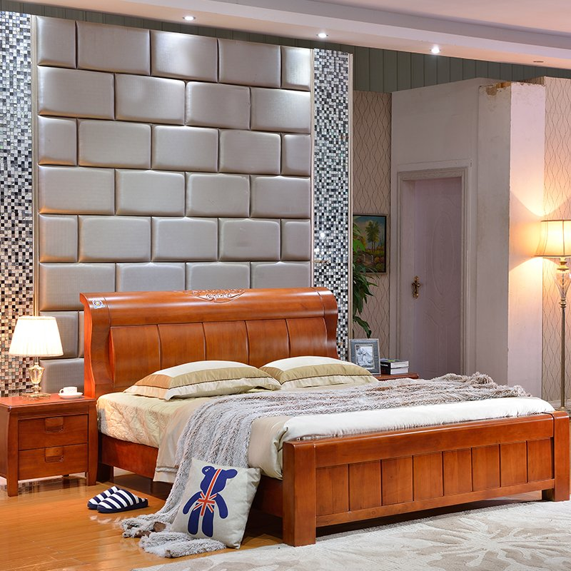 Modern minimalist new Chinese solid wood bed, 1.51.8 meters high-grade oak wedding bed, white double bedroom bed