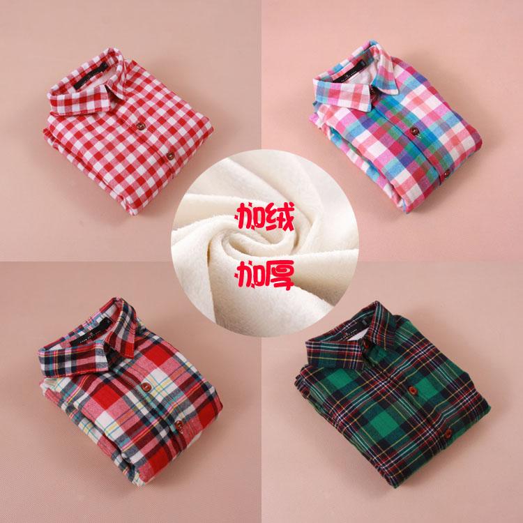 新款婴儿男童女童加厚白绒保暖格子衬衫新品上架特价