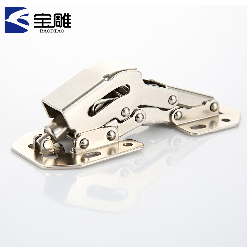 Baodiao free hole perforation free clothes cupboard door hinge clothes cabinet hydraulic damping hinge semi metal cover
