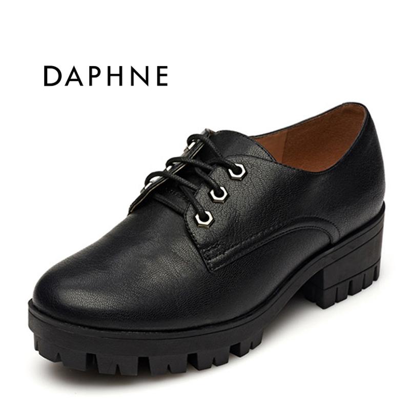 达芙妮专柜正品英伦圆头方根防水台深口系带中高跟女单鞋大头皮鞋