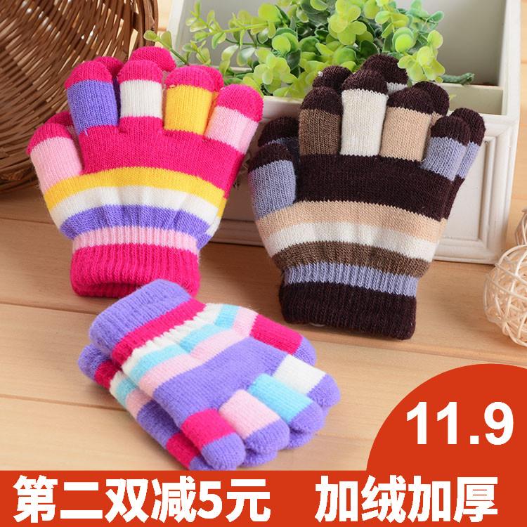 1-2-3岁婴儿宝宝手套保暖可爱冬季加绒 五指男童女童儿童手套冬