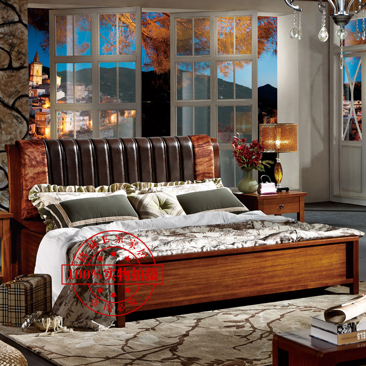 English garden country style walnut furniture, solid wood bed double bed, soft leather wrapped bed, high box bed