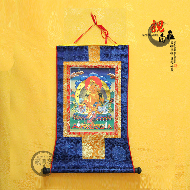 黃財神小號藏族唐卡少數名族手工藝品掛畫燙金精裱佛像裝飾畫