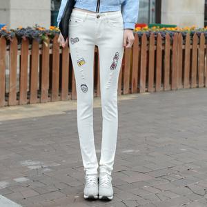 實拍216春秋白色破洞牛仔褲女韓版刺繡顯瘦高腰鉛筆褲學生小腳褲