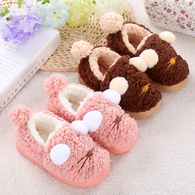 男童女童小孩包跟宝宝防滑棉鞋家居家室内拖鞋冬季卡通儿童棉拖鞋