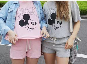 韓國夏季卡通短袖純棉睡衣套裝女學生家居服套裝