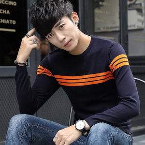 韩版男士秋冬套头线衫修身上衣服圆领长袖打底衫毛衣针织衫男917