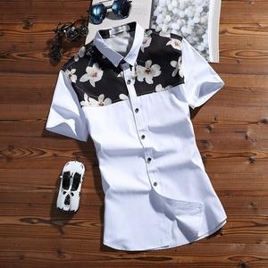 夏季短袖衬衫薄款男装男士衬衣韩版修身型青年免烫休闲寸衫潮015