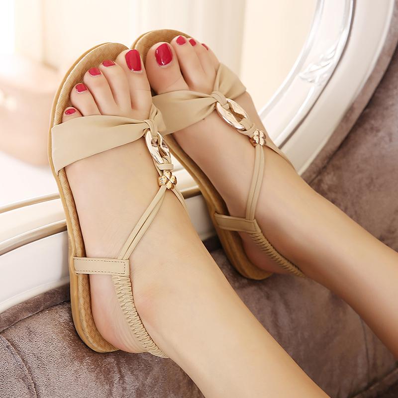 2017新款夏新罗马女鞋波西米亚大码凉鞋小码33平底平跟休闲沙滩鞋