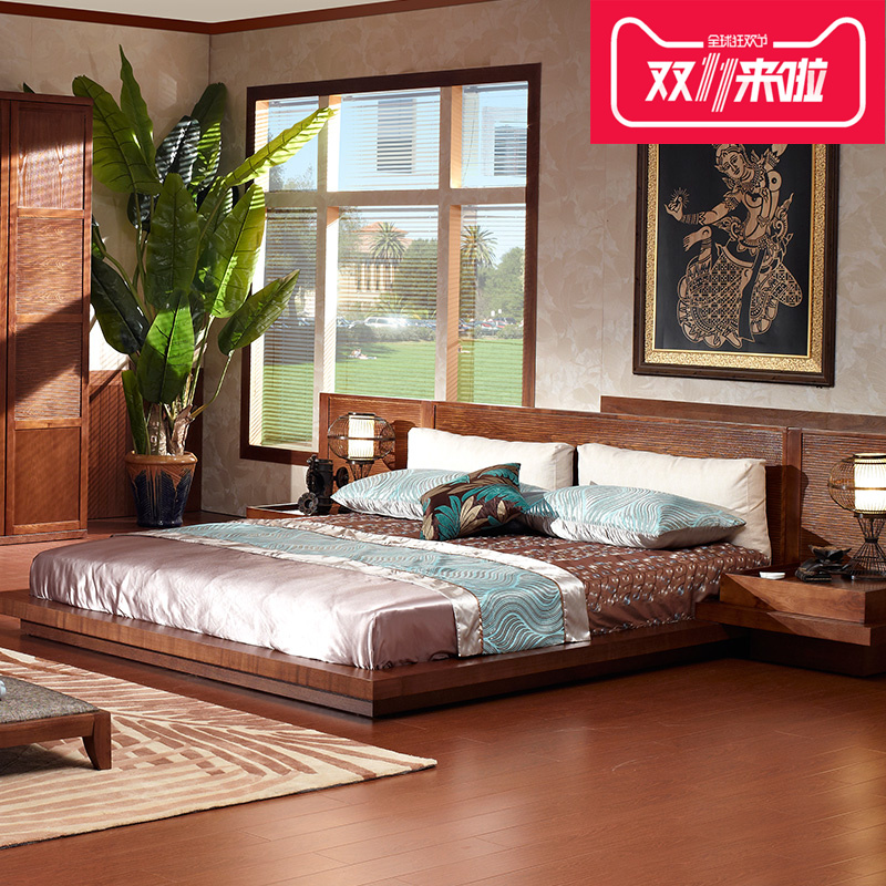 Southeast Asian style solid wood furniture tatami bed 1.5 meters 1.8 meters short Japanese tatami bed double bed