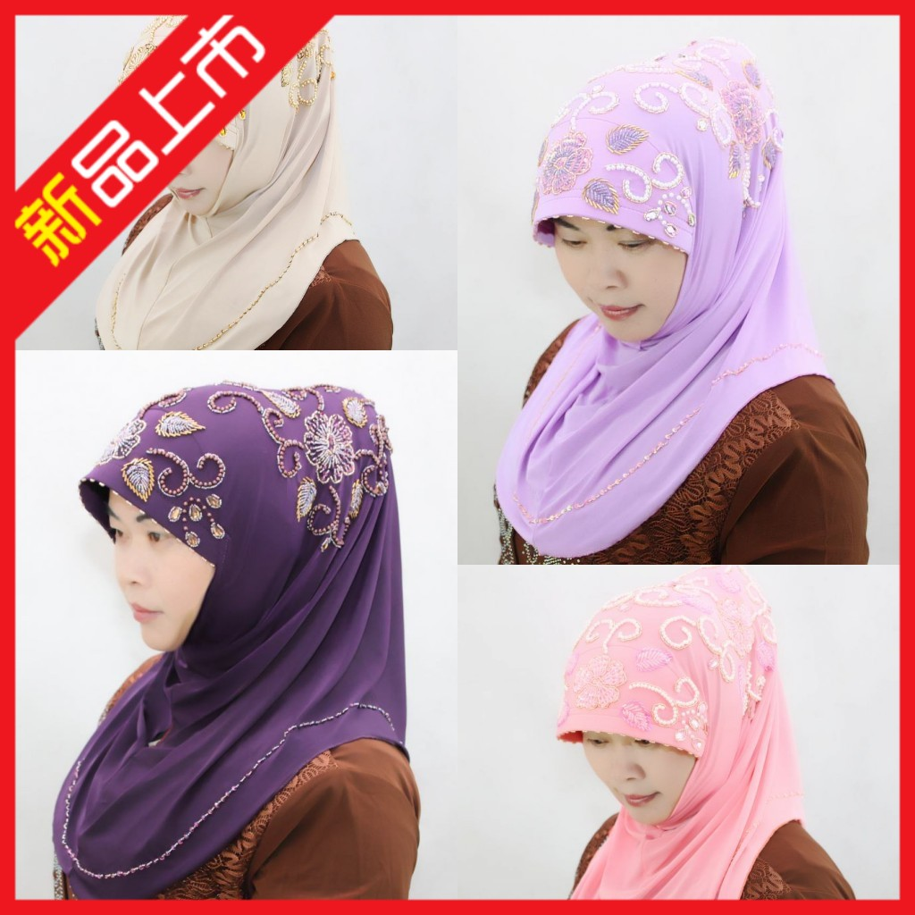 1233842018新款蓋頭女回民族風方便套頭穆斯林時尚珍珠繡花冰絲串珠頭巾