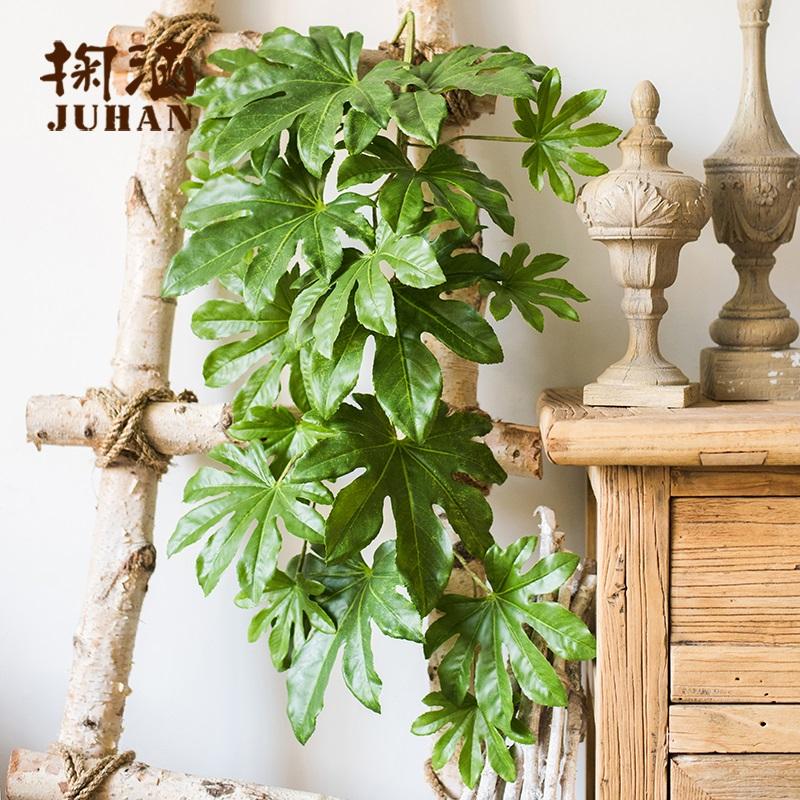 八角金盤葉一束【掬涵】八角金盤葉大型仿真綠植壁掛花藝插花工程裝飾墻面綠植墻