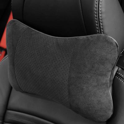 包邮 SPIRIT汽车枕护颈枕车用 黑色翻毛皮头枕通用汽车内饰用品