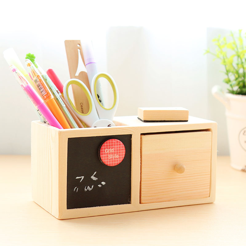 木質筆筒單色發送韓國文具方形單層實木質黑板收納盒創意復古抽屜筆筒原木質黑