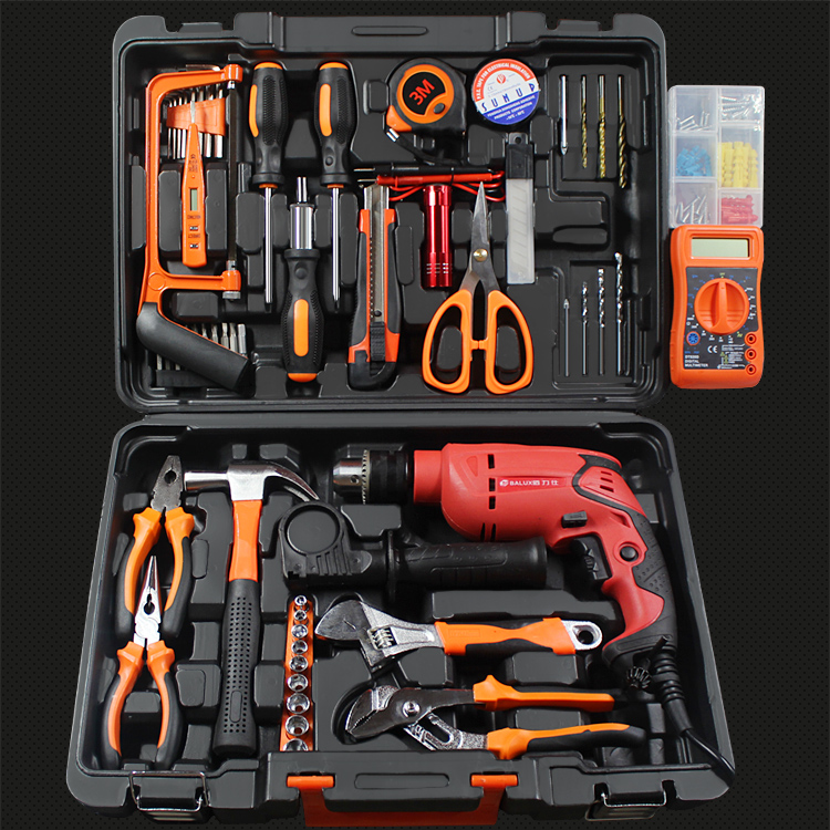 Tool set multifunctional hardware toolbox, Germany electric multi-purpose maintenance combination of household tool sets