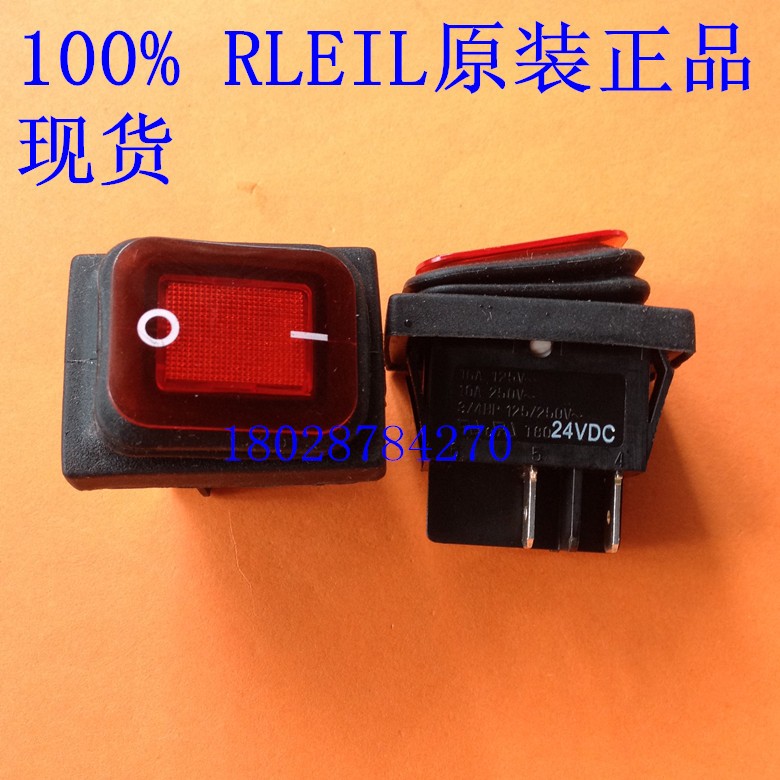 Waterproof rocker switch, 24VDC switch and RLEIL four original Taiwan red RL2 (P)