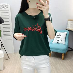 实拍 6628# 新款2018夏季韩版女装短袖圆领时尚绣花宽松大码T恤衫