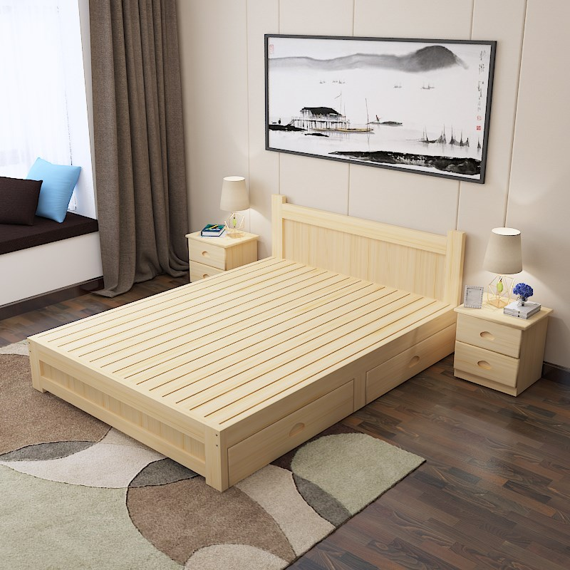 Pure solid wooden 1.8 double bed single bed 1.5 1.2 children bed 1 tatami simple modern old bed guardrail