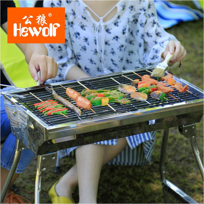 HF - draagbare dik roestvrij staal barbecue - huishoudelijke medium met barbecue houtskool geroosterd.
