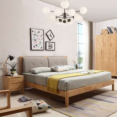 Modern minimalist furniture solid wooden bed by Japanese double soft economy Nordic 1.5m1.8 m master bedroom