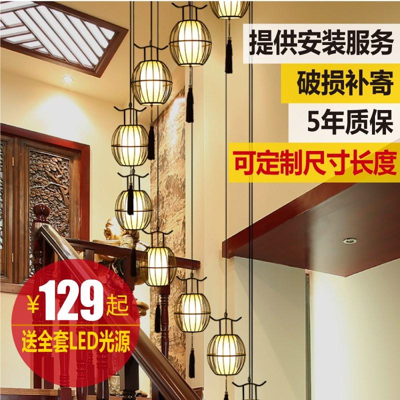 лестница люстры мансардном этаже виллы ротации лестницы в клетке лампа чайная ресторан новый китайский лестницы лампа секретаря люстра