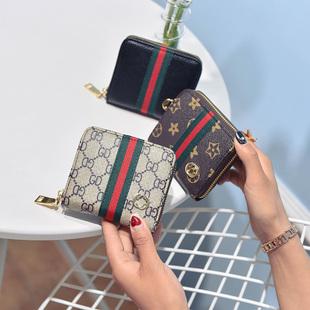 2017夏季新款钱包女手拿包卡片包短款拉链钱包女包彩条手包女