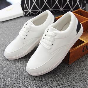 2017新款韩版纯色潮男鞋男式休闲鞋板鞋帆布鞋系带低帮透气鞋8563