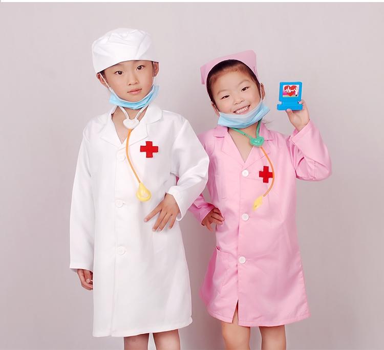 醫生服+帽子+聽診器+口罩100cm(100cm(100cm))幼稚園兒童男童醫生服飾女小護士角色職業扮演表演服裝白大褂