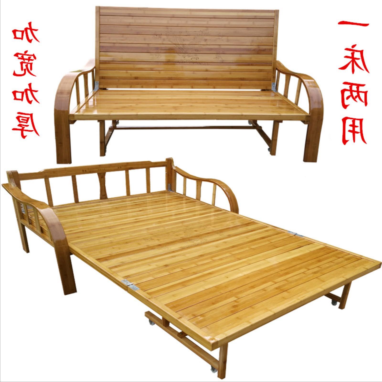 ไม้ไผ่ไม้ไผ่สองเตียงเตียงพับเตียงโซฟาเตียงเตียงไม้เนื้อแข็งถ่านไม้ไผ่นอนเตียงอเนกประสงค์