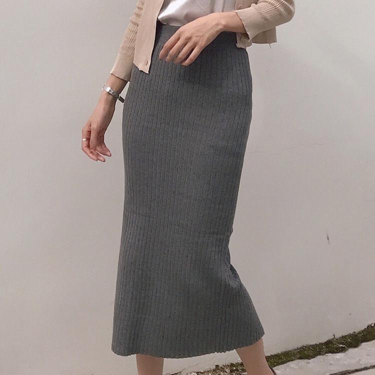 韓版chic風純色百搭修身顯瘦開叉高腰中長款包臀裙女初秋半身裙