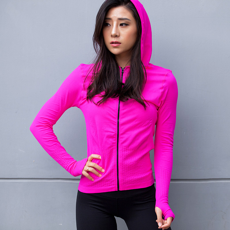 Pure sport coat female wicking running clothes high elastic long sleeved Hooded Hoodie clothing fitness movement