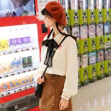Áo sơ mi nữ họa tiết hình nơ tay bồng dài tay thắt dây mốt mới mùa xuân phong cách Nhật Bản phong cách học sinh